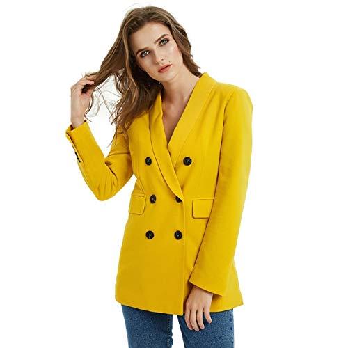 WHBDFY Marke Rosa Gelb Farbe Anzug Blazer Jacke Frauen Mode Langarm Mantel Frauen Elegante Zweireiher Jacke Anzüge Weibliche Damen M JK01