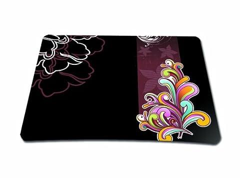 wortek Mauspad Standard Größe aus Neopren mit schönem Design und gummierter Unterseite - Ranke Abstrakt Schwarz Bunt
