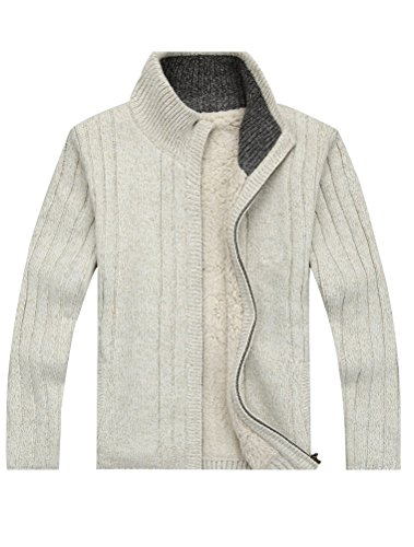 MatchLife Homme Nouveau Col Montant Toison Manteau Pull Cardigans Style1-Abricot