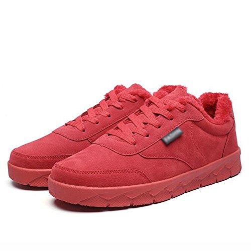 FEIFEI Herren Freizeitschuhe Herrenschuhe Hochwertige Materialien Wintersport und Freizeit Rutschfeste Warmhalteplatte Schuhe 3 Farben ( Farbe : Rot , größe : EU42/UK8.5/CN43 )