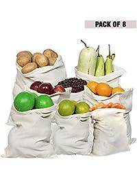 Kurtzy Reusable Eco-Friendly Washable Organic Cotton Mesh Produce Fridge Storage Bag forVegetable, Fruits, Toys and Grocery (Ivory, 8 Packs)