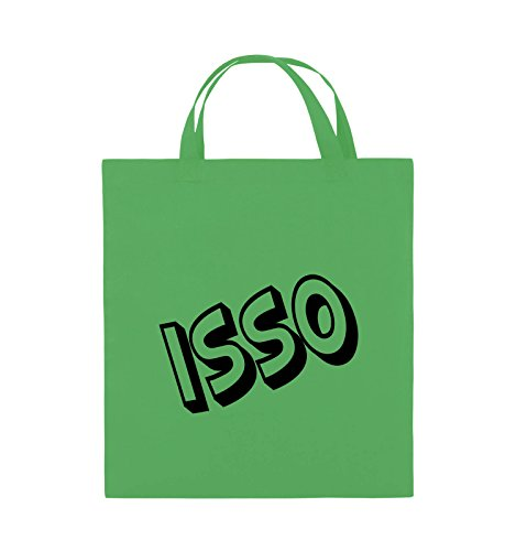 Comedy Bags - ISSO - COMIC SCHIEF - Jutebeutel - kurze Henkel - 38x42cm - Farbe: Schwarz / Silber Grün / Schwarz