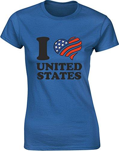 I (Heart) United States, Gedruckt Frauen T-Shirt - Königsblau/Schwarz/Transfer M = 82-86cm (Alaska Fitted T-shirt)