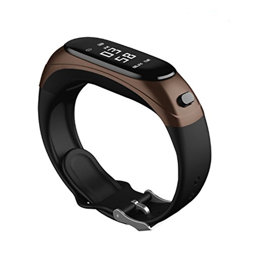 Fitness Tracker Smart Armband Wireless Bluetooth Kopfhörer 2 In 1 Touchscreen Pulsmesser Anruf Bluetooth Schrittzähler Armband Schlaf Monitor Unterstützung Mehrere Sprachen Geeignet Für Frauen Männer Android Und IOS,Brown