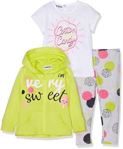 Mek MEK Baby-Mädchen Jogginganzug Tuta 3 Pezzi : Full Zipper+t-Shirt+Pantalone, 3er Pack, Gelb (Giallo 03 417), 68 (Herstellergröße: 6M)