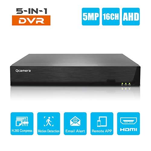 Q-camera 16CH 5MP Full HD Hybrid AHD/TVI/CVI/Analog/Onvif IP DVR H.265 CCTV Videorecorder Bewegungserkennung P2P Fernüberwachung für Home Security Surveillance System Kamera (Keine HDD)