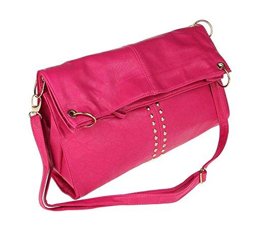 OBC ital-design moderne Damen Shopper DIN-A4 Tasche verwandelbar Nieten Beuteltasche Hobo-Bag Schultertasche Clutch Umhängetasche Damenhandtasche Handtasche 38x40x7 cm (BxHxT) (Braun (Antik Optik)) Pink mit Nieten