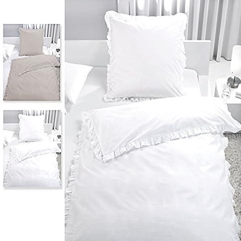 2-tlg. Bettwäsche Set Rüschen mit Reißverschluss aus 100% Baumwolle, Deckenbezug 135x200cm, Kissenbezug 80x80cm, Vintage-Stil (Weiß)