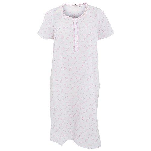 Chemise de nuit à manches courtes - Femme Blanc/Rose/Rose pâle