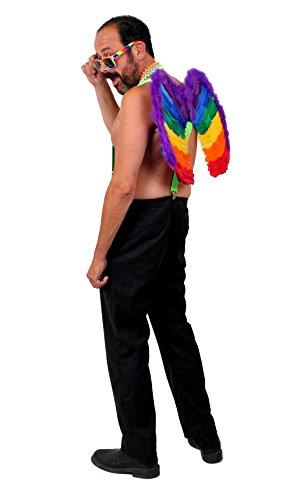 ILOVEFANCYDRESS Pride Kostüme Verkleidung = BEINHALTET = Grüne HOSENTRÄGER + Regenbogen FARBENDE Brille + 4 Neon FARBENDE Ketten + Regenbogen ECHTFEDER Flügel