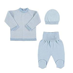 Petit Oh! - Conjunto de Punto para bebé de Jersey, Polaina y Gorro. 100% algodón 6