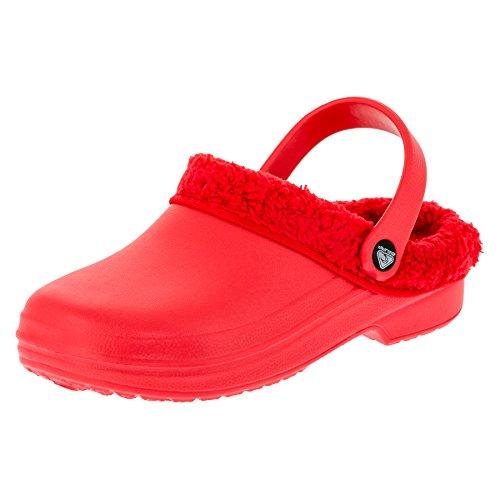 Gefütterte Damen Clogs Garten Schuhe Freizeit Pantoffel in Vielen Farben M272rt Rot 39 EU