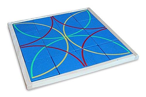 Holzpuzzle Legepuzzle Kreise Puzzle aus Holz natur blau, 20 x 20 x 1,7 cm, Denkspiel Knobelspiel Holzspiel Legespiel, Geschenk Kinder - Holz-puzzle Kreis