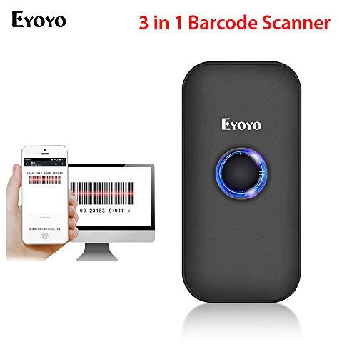 Eyoyo Mini Scanner Douchette 1D Lecteur de codes à barres CCD sans Fil Bluetooth et USB 3-en-1 Compatible avec iPad, iPhone, Téléphones Android, Tablettes PC(EY-009C)