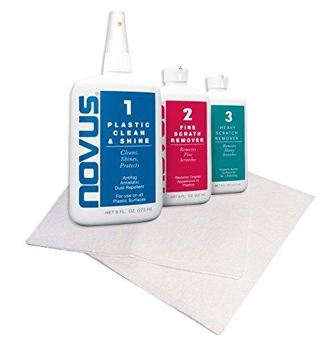 Novus Plastic Polish Kit 1/2/3 x 237 ml (8 once) + 6 panni non abrasiv
