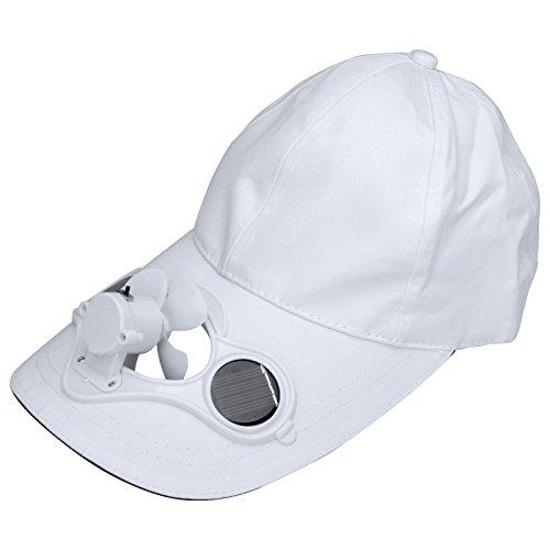 HanLuckyStar Batterie oder Sonnenenergie Solarventilator Hut Kappe für Golf und Solar-Baseball-Cap mit dem kühlen Mini-Ventilator Outdoorsport Sonnenhut Unisex Weiße Golf Sonnenhut Männer