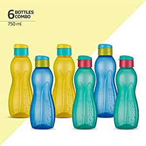 6 Wide Mouth Round 750cc Blue Plastic Bottle Containers With Caps Free Ship