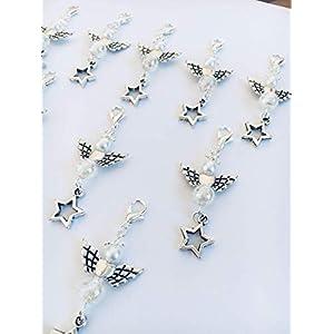 10 Perlenengel Anhänger mit wunderschöner irisierender Perle und Stern Charm, perfekt zum verschenken oder als Tisch Deko, Engel, Schutzengel, Acryl Metalllegierung, mit Engelsflügel, Angel