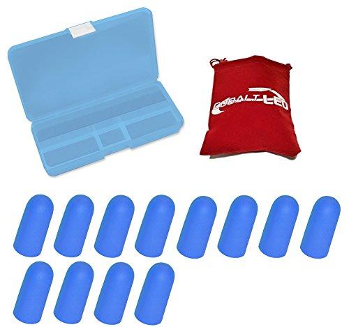cobalto®: tappi per le orecchie, custodia protettiva in blu-per ridurre rumore e suono, orecchio spina (Cobalt Blue Led)