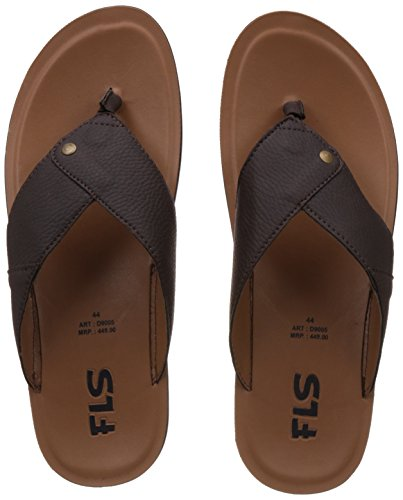 FLS (By Franco Leone) Men's Brown Flip Flops Thong Sandals - 8 UK/42 EU  available at amazon for Rs.269