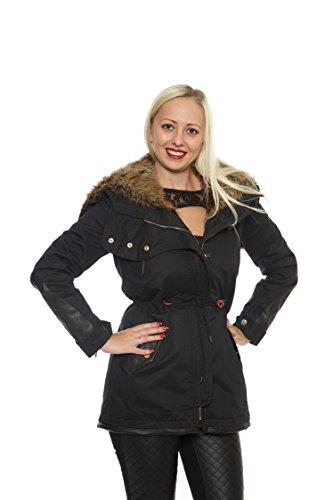 Donna parka con pelliccia interna e cappuccio shwarz beige in eco pelle maniche nero small