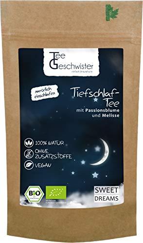 BIO Schlaf-Tee | natürlicher Kräuter-Tee zum einschlafen und entspannen | Abend-Tee mit Baldrian Fenchel und Melisse | ohne Zusatzstoffe | Tee-Geschwister | 85g