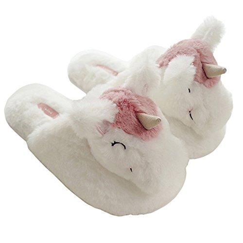 Minetom Unisex Unicorno Peluche Antiscivolo Pantofole Home Morbido Antiscivolo Cotone Scarpe Caldo Casa Pattini per Donne Uomo Bianco
