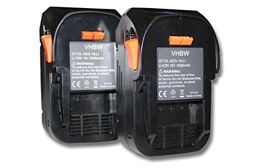2x Batteria vhbw Li-Ion 3000mAh (18V) per utensili AEG BFL 18, BHO 18, BKS 18, BMS 18C, BS 18C, BS 18G, BSB 18 come AEG L1815R, L1830R.