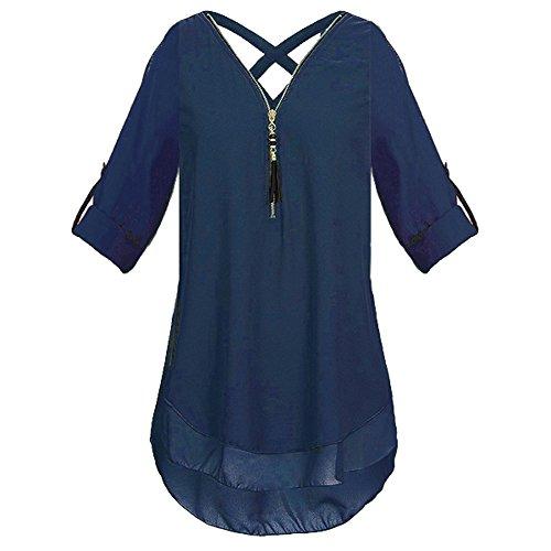 ESAILQ Frauen V-Ausschnitt Reißverschluss Reine Farbe Chiffon T-Shirts beiläufige lose Tops Tunika Bluse (XXXL, Marine)