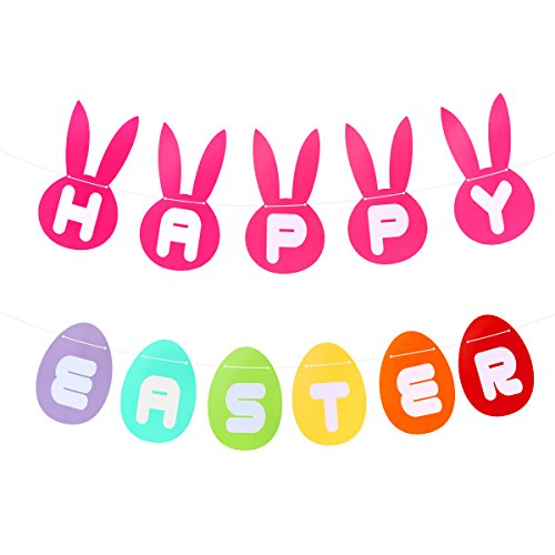 LUOEM Ostern Banner Streamer Bunny Osterei Galand Bunting -