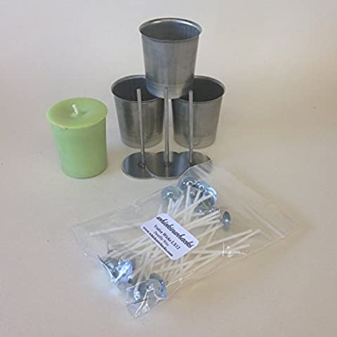 WHICKSNWHACKS ® 3 x VOTIVE Candle Making MOULDS + 3 Wick Pins + 25 Pre-waxed Paraffin Wicks