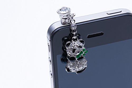DESIGN FREUNDE Staubstecker Strass Staubschutz Stöpsel Kappe Bling Glitzer Diamant Strass Silber Panda Design Klinkenanschluss für alle gängigen Smartphones, 3.5mm Kopfhörer für Smartphone Handy Tablet iPhone 4 4S 5S 5G 5C, iPad 2 mini, Samsung Note 2 N7100, i9220 ,Note3 N9000 N9005 , Galaxy S3 i9300, S3 Mini i8190, i8262D , S2 i9100, i9268, Samsung Galaxy S4 i9500 i9505 i9268 HTC one M7 X, TC X920e, Nokia Lumia 920 928 n920 520 Sony L39H L36h Xperia, universal für alle Smartphones und Tablets mit Klinkenanschluss