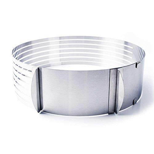 SULUO 25/30CM Stainless Steel Adjustable Retractable Circular Ring Cake Layered Slicer Cutter Mold DIY Cake Tools Baking Accessories,16-20cm Flexible Slicer