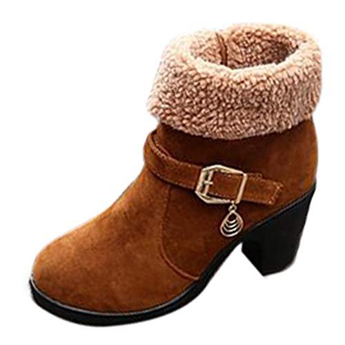 Riou Mode Damen Absätzen Stiefeletten Elegant Rutschfeste Plattform Flock Kurze Ankle Winterstiefel Arbeits Schuhe (36.5 EU, Braun)