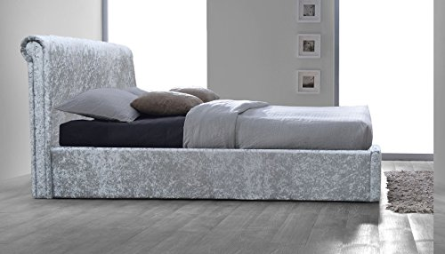 5ft King Size Rome Crushed Velvet Fabric Upholstered Bed Frame New 2017 In Silver …