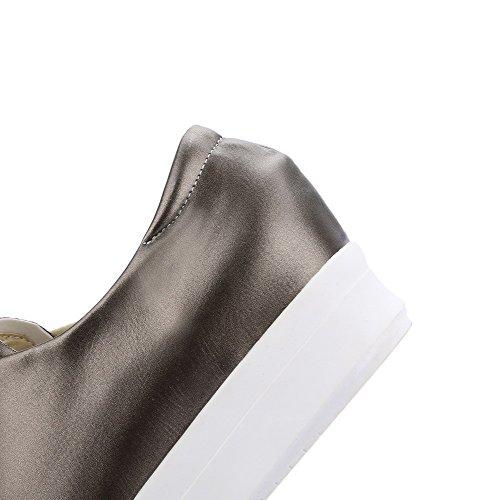 VogueZone009 Femme Tire Pu Cuir Rond à Talon Bas Couleur Unie Chaussures Légeres Gris