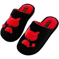 Zapatillas de Felpa Mujer Zapatillas de Casa Cálido Confortables Zapatillas de Invierno Unisexo Adulto Pelusa Pantuflas Impresión de Gato Linda Pantuflas