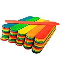 50 Jumbo Wooden Craft Lollipop Sticks Colours Mixed 150mm x 19mm - Giant Lolly Sticks - Wide Lolly Sticks for Craft - Large Lolly Sticks - Big Lolly Sticks