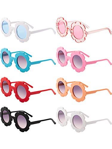 Weewooday 8 Stücke Kinder Sonnenbrille Nette Runde Sonnenbrille Blume Geformte Sonnenbrille für Jungen Mädchen Partei Zubehör (Farbe 1)