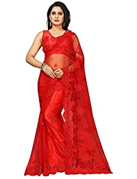 be9a15201f Radiance Star Women's Embellished Embroidered Work Floral Figure Heavy Net  Saree With Blouse Piece