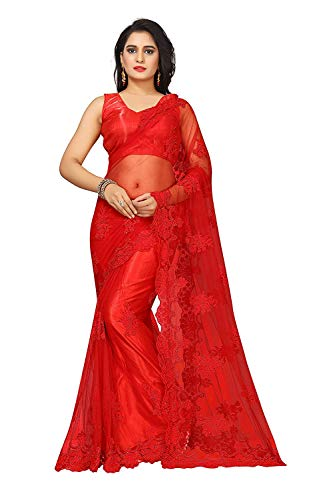 Surat Creations Designer Red Net Saree with Embroidery And Pearl Work