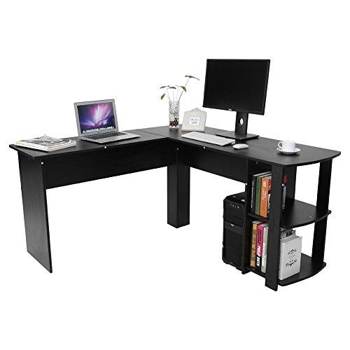 Möbel L-förmige Computer (Greensen Möbel Schreibtisch Winkelkombination PC-Tisch, mit Regal, Eckschreibtisch Bürotisch 136 x 130 x 72cm, 2 Farben, Schwarz, Weiß (Schwarz))