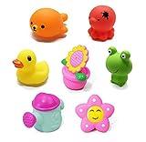 Happyit Baby Badespielzeug Cartoon Tier Schwimmen Wasser Squeeze Sprühen Strand Bad Spielzeug für Kinder Jungen Mädchen Badewanne Spaß Baby Dusche Zeit (7 Pcs)