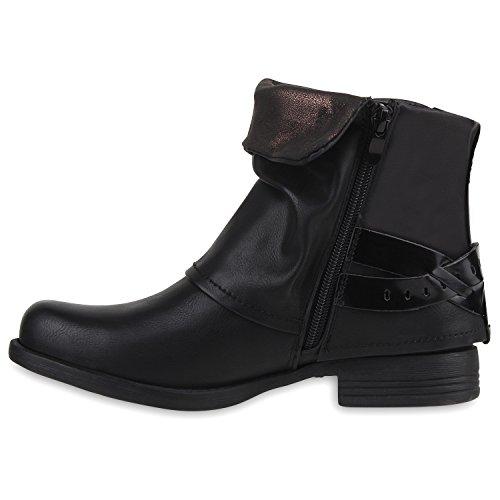 37fd9a8595066e Damen Stiefeletten Biker Boots Nieten Schuhe Lack Stiefel Schwarz