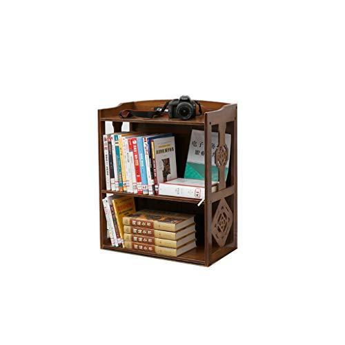 TLMYDD Vintage Bücherregal Bambus Hohl Muster Doppel Bücherregal Wohnzimmer Boden Lagerung Regal Ständer 70x28x43 cm Bücherregal (Size : M) -