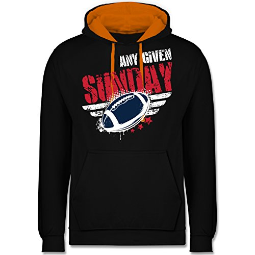 American Football - Any Given Sunday Football New England - Kontrast Hoodie  Schwarz/Orange