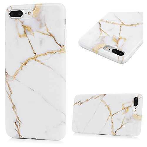 iPhone 7 Plus Marmor Handyhülle, KASOS Marble Hülle Soft Case mit IMD Technologie,White
