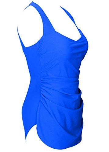 Eleganter Badeanzug Damen Einfarbige Raffnierte Badebekleidung Bauchweg Bandeau Badekleid Übergröße Bademode Blau