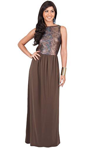 KOH KOH® Femmes Robe d'été Longue Imprimé Metallique Brillante Brun / Latte