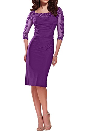 Charmant Damen Dunkel Rot Spitze Brautmutterkleider Partykleider Promkleider langarm Promkleider Kurz Violett